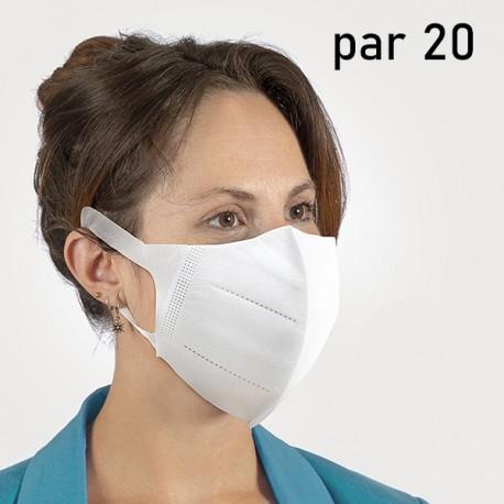 Masque adapté à la protection des voies respiratoires (par 20)