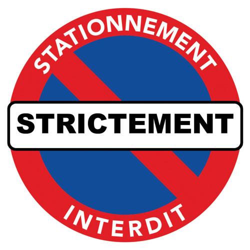 sticker stationnement strcitement interdit pour voiture mal garée